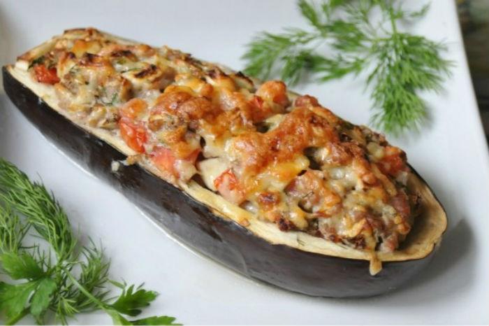 Баклажаны с мясом и грибами фото